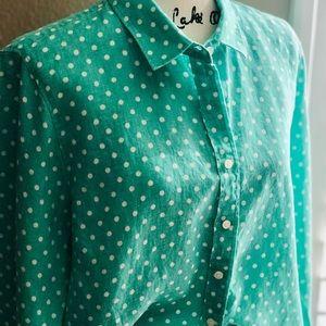 JCREW Mint Polka Dot Button-Down Blouse